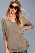 Feel the Magic Heather Light Brown V-Neck Sweater Top 3