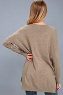 Feel the Magic Heather Light Brown V-Neck Sweater Top 4