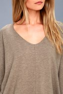 Feel the Magic Heather Light Brown V-Neck Sweater Top 5