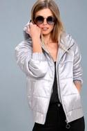Hooded Puffa Silver Jacket 1