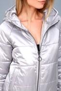 Hooded Puffa Silver Jacket 4