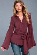 Mason Washed Burgundy Long Sleeve Cutout Knotted Button-Up Top 5