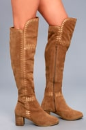 Moon Tan Suede Leather Embroidered Over the Knee Boots 4