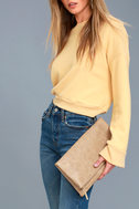 After Party Beige Snake Print Clutch 4