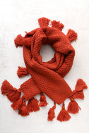 Northern Hemisphere Terra Cotta Knit Scarf 1
