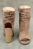 Only the Latest Taupe Suede Peep-Toe Booties 4