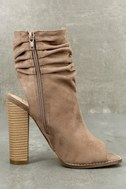 Only the Latest Taupe Suede Peep-Toe Booties 3