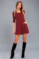 Pretty as a Picture Burgundy Long Sleeve Swing Dress 2
