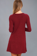 Pretty as a Picture Burgundy Long Sleeve Swing Dress 3