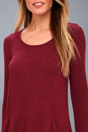 Pretty as a Picture Burgundy Long Sleeve Swing Dress 4