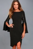 Zip Along Black Long Sleeve Bodycon Midi Dress 2