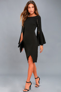 Zip Along Black Long Sleeve Bodycon Midi Dress 1