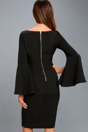 Zip Along Black Long Sleeve Bodycon Midi Dress 3