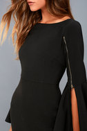 Zip Along Black Long Sleeve Bodycon Midi Dress 4