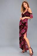 Bouquet Burgundy Floral Print Off-the-Shoulder Maxi Dress 2