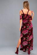 Bouquet Burgundy Floral Print Off-the-Shoulder Maxi Dress 3