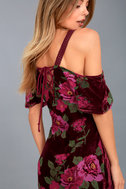 Bouquet Burgundy Floral Print Off-the-Shoulder Maxi Dress 4