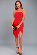 Samantha Red Strapless Peplum Dress 2