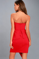 Samantha Red Strapless Peplum Dress 4