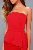 Samantha Red Strapless Peplum Dress 5