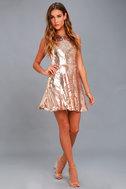 City Dreams Rose Gold Sequin Sleeveless Skater Dress 2
