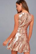 City Dreams Rose Gold Sequin Sleeveless Skater Dress 3