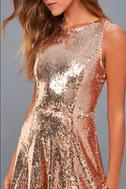City Dreams Rose Gold Sequin Sleeveless Skater Dress 4