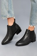 Dicey Black Leather Ankle Booties 1