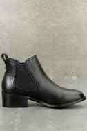 Dicey Black Leather Ankle Booties 3