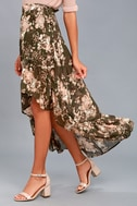 Tiffany Olive Green Floral Print High-Low Wrap Skirt 2