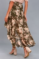 Tiffany Olive Green Floral Print High-Low Wrap Skirt 4