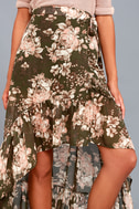 Tiffany Olive Green Floral Print High-Low Wrap Skirt 3