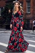 Strike a Rose Black Floral Print Long Sleeve Maxi Dress 5