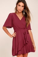 Absolute Affection Burgundy Wrap Dress 3