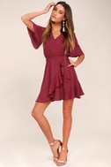 Absolute Affection Burgundy Wrap Dress 2