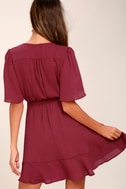 Absolute Affection Burgundy Wrap Dress 4