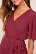 Absolute Affection Burgundy Wrap Dress 5