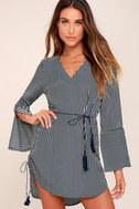Neroli Navy Blue Striped Long Sleeve Dress 1