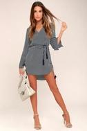 Neroli Navy Blue Striped Long Sleeve Dress 2