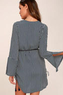 Neroli Navy Blue Striped Long Sleeve Dress 3