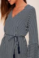 Neroli Navy Blue Striped Long Sleeve Dress 4