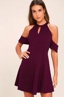 Head Over Heels Plum Purple Off-the-Shoulder Skater Dress 1