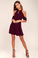 Head Over Heels Plum Purple Off-the-Shoulder Skater Dress 2
