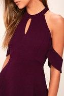 Head Over Heels Plum Purple Off-the-Shoulder Skater Dress 4
