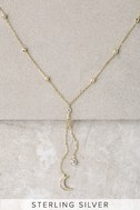Moonlight Becomes You Gold Rhinestone Drop Necklace 3