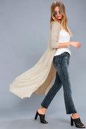Graceful Ways Light Beige Long Cardigan Sweater 4