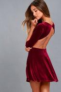 Charisma and Charm Burgundy Velvet Backless Dress 1