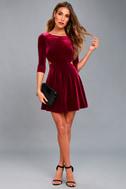 Charisma and Charm Burgundy Velvet Backless Dress 2