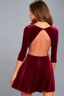 Charisma and Charm Burgundy Velvet Backless Dress 3