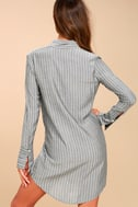 Poised and Proper Grey Striped Knotted Shirt Dress 3